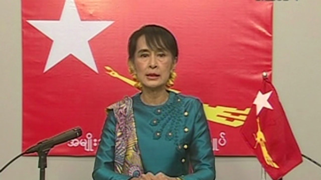 Myanmar TV broadcasts Suu Kyi speech