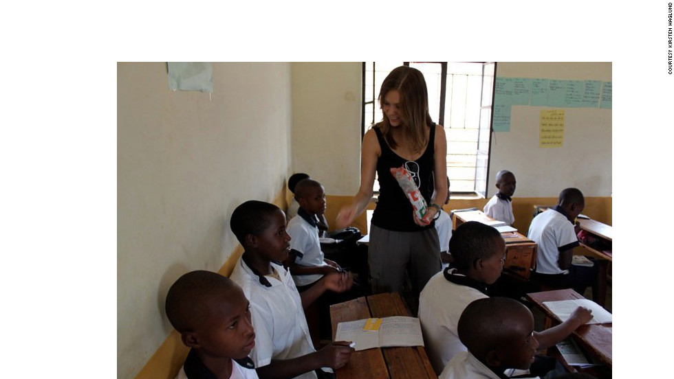 Haglund visits children in Kigali, Rwanda, in 2010 with a volunteer organization called One Hundred Days.