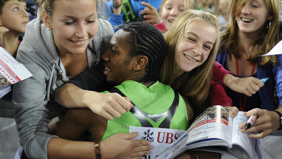 Blake posted personal bests in both the 100m and 200m in 2011, and has seen his profile rise as a result. Here he celebrates with fans in Zurich after running the fastest time of his career -- 9.82 seconds.