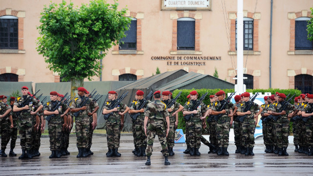 French soldiers from the 17th parachute regiment participate in a ceremony in June in Montauban, France.