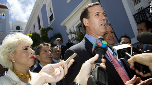 SAN JUAN, PUERTO RICO - MARCH 14: Republican presidential candidate, former U.S. Sen. Rick Santorum speaks to the media