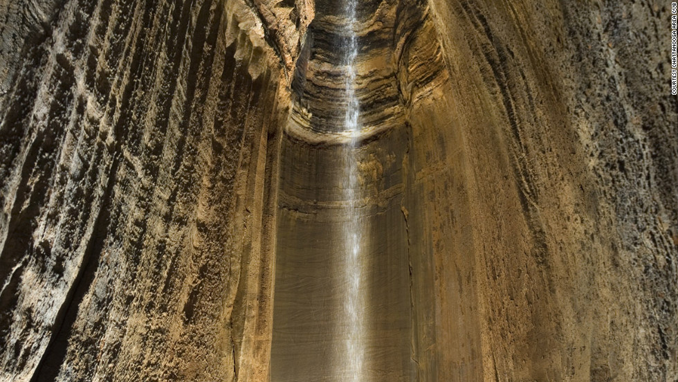 Ruby Falls, a 145-foot waterfall, is situated deep under Lookout Mountain.