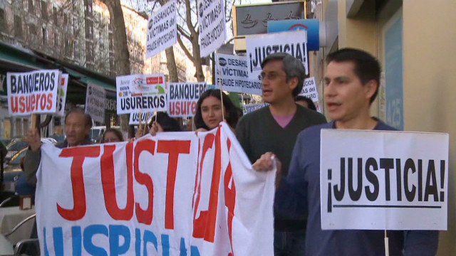 Spain home evictions draw protests