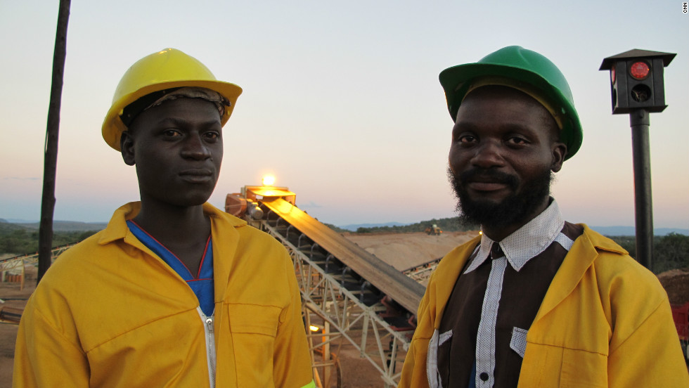Two local workers at a diamond mine owned by Marange Resources in Zimbabwe.