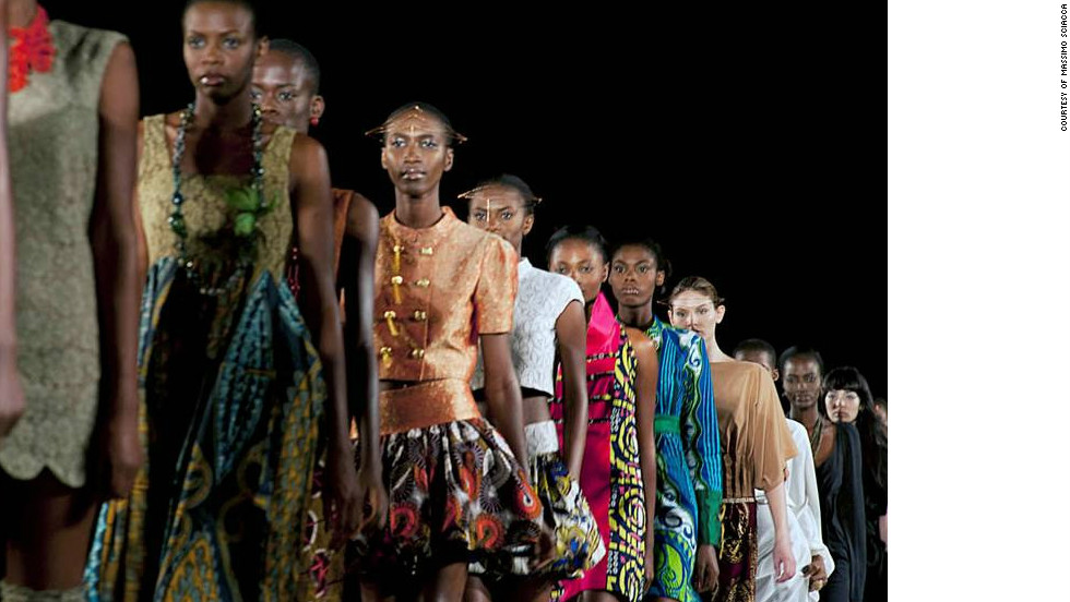 Models wear Nigerian-Italian label Kinabuti on the runway.