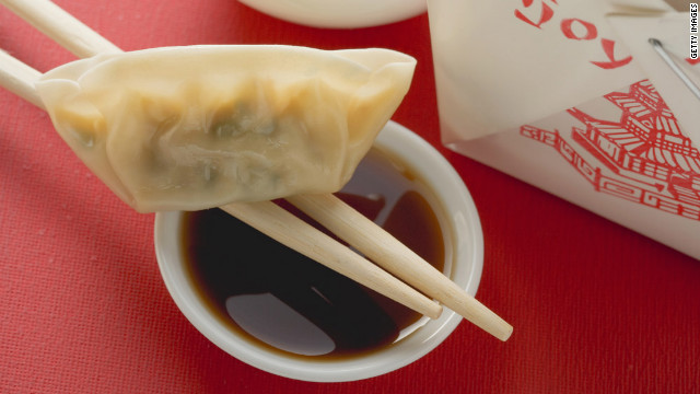 Three steamed veggie dumplings will save you more than 130 calories and about 10 grams of fat over steamed pork dumplings.