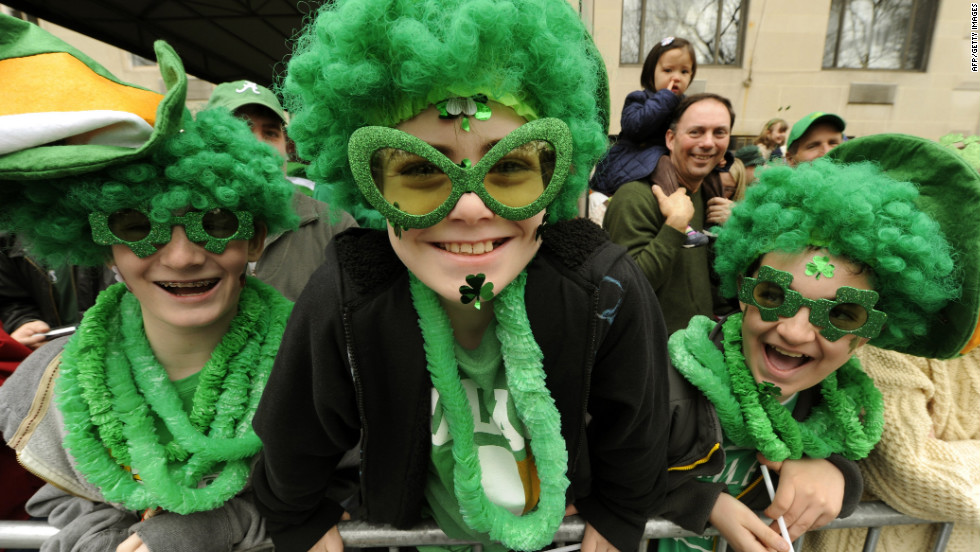 Parade-goers glam it up for the 251st St. Patick's Day parade in New York.