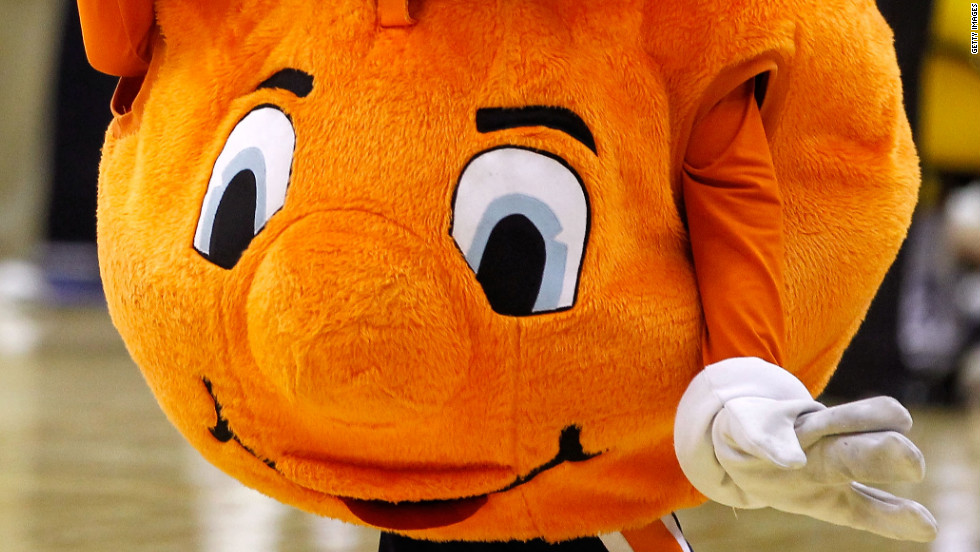 Otto the Orange is the official mascot of Syracuse University and will cheer for his team against the University of Wisconsin in the next round of the NCAA men's basketball tournament. Sixteen teams remain in the running for the championship.