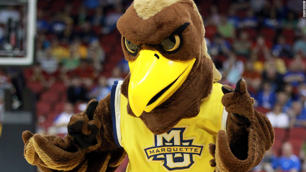 The Marquette mascot will be on hand as the Golden Eagles take on Florida in the Sweet 16.
