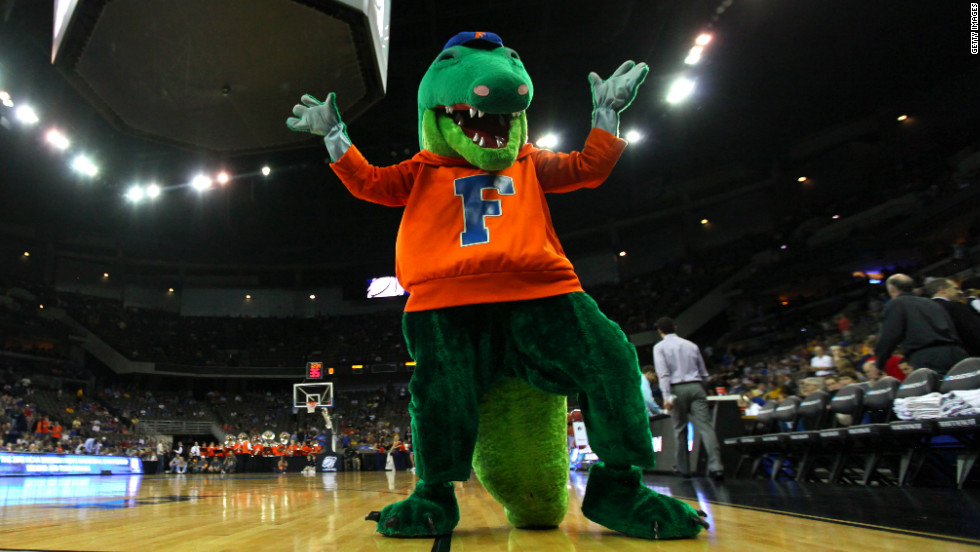 Albert, the mascot for the Florida Gators, shows his colors ahead of the team's win against Virginia in the second round.