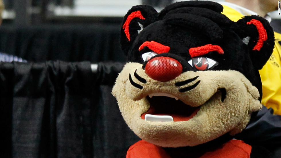 The Cincinnati Bearcats mascot takes a breather during a break in play against the Texas Longhorns in the second round.