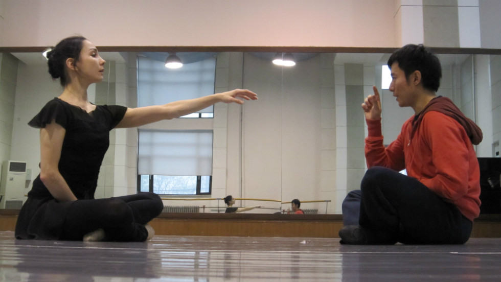 "Rojo and Fei Bo -- himself a graduate of the prestigious Beijing Dance Academy -- rehearse their Fusion Journey collaborative dance ""Life is a Dream,"" about a philosopher who wakes from a dream unsure of what reality is."