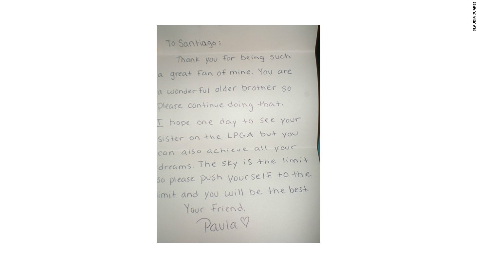 Creamer also wrote a letter to Ana's older brother Santiago, encouraging them to achieve their dreams.