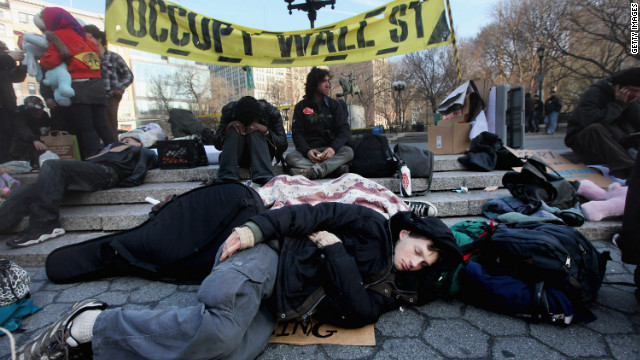 Protesters congregate in Union Square in New York City on Wednesday after 74 were arrested Saturday at Zuccotti Park.