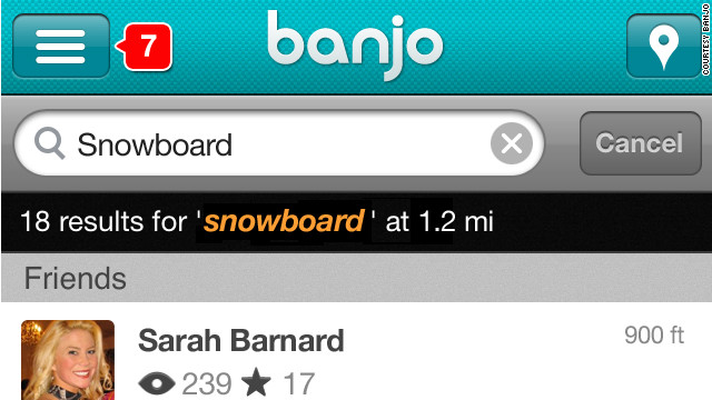 Banjo lets you see tweets and other social-media posts from people who are near you.