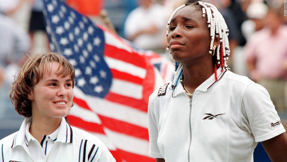 In 1997, Venus became the first woman since Pam Shriver in 1978 to reach the final of her first US Open. She lost the showpiece match 6-0, 6-4 to Martina Hingis, seen at left.