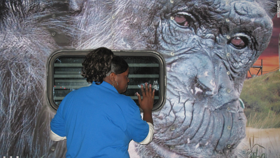 """At a gas station in Slidell, Louisiana, cashier Denise Johnson runs out of the store to greet the chimpanzees. """"I get to see them every time they come,"""" says Johnson, who has greeted most of the 27 groups of chimps as they make their cross-country journey. Realizing that this is the final group of chimpanzees, Johnson starts to cry. """"Well I hope they're happy where they're going,"""" she says."""