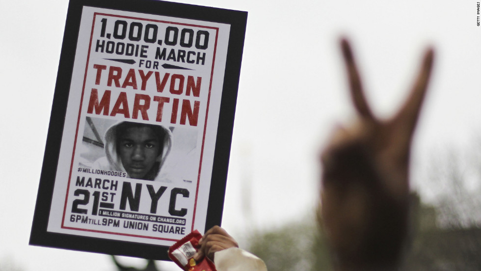 "Supporters of Trayvon Martin rally in New York's Union Square during a ""Million Hoodie March"" on Wednesday, March 21. Trayvon, 17, was shot to death February 26 while walking in a gated community in Sanford, Florida. George Zimmerman, a neighborhood watch leader, said he shot the teen in self-defense."