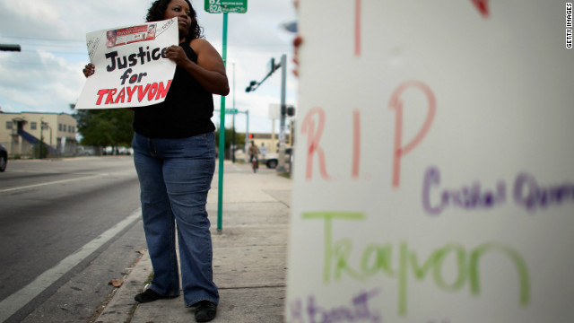 MIAMI, FL - MARCH 21: Noel Wilcox shows her support with the family of 17-year-old Trayvon Martin, who was killed by neighborhood watch person, George Zimmerman on February 26 in Sanford, Florida, on March 21, 2012 in Miami, Florida.