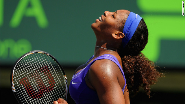 Serena Williams enjoyed her victory over Australian Samantha Stosur in Miami.