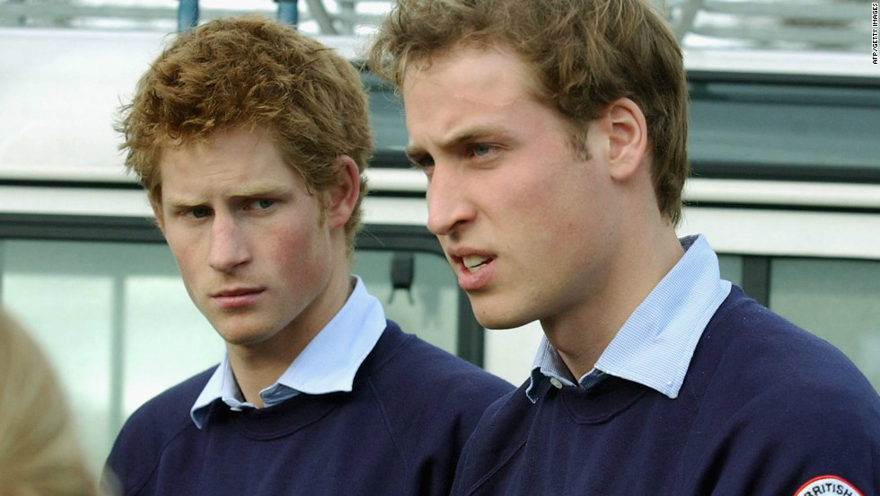 January 2005: Prince William and Prince Harry help out at a Red Cross depot packing aid for victims of the Indian Ocean tsunami.