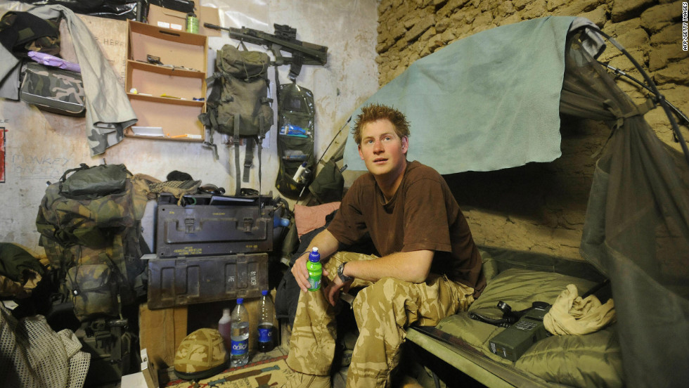 January 2008: Prince Harry sits on his bed at Forward Operating Base Delhi, in Helmand province in Southern Afghanistan.
