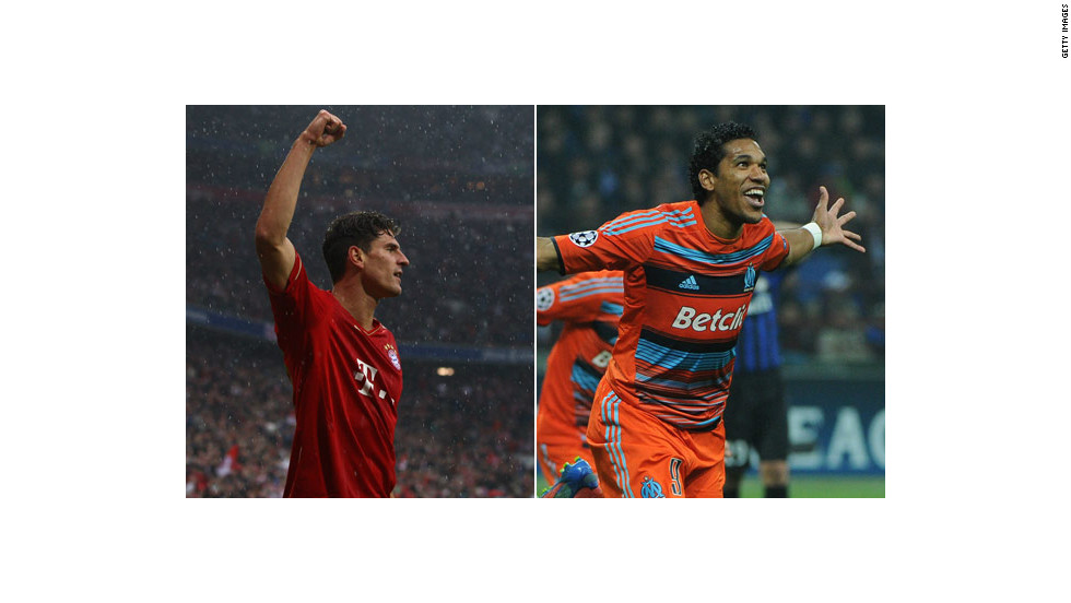 Also on Wednesday, the pressure is on four-time European champions Bayern Munich, whose Allianz Arena will host the final in May. Germany striker Mario Gomez  (left) has been in lethal form for Bayern, but Marseille upset the odds to eliminate Inter Milan in the last round as Brazilian forward Brandao scored the crucial away goal.
