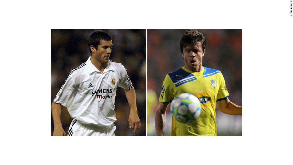 Santiago Solari (left) spent five years at Real Madrid between 2000 and 2005, during which time he won the European Champions League and two Spanish league titles. The Argentine midfielder's brother Esteban will play for Cypriot minnows APOEL Nicosia against Real on Tuesday.