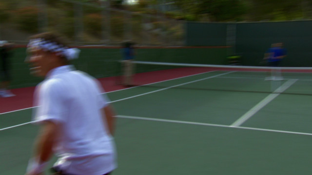 Sampras demonstrates his signature shot