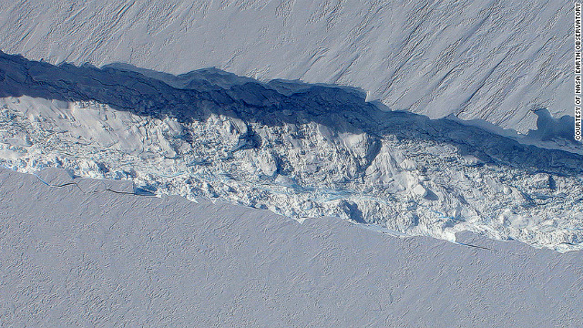 The birth of an iceberg on Pine Island Glacier in West Antarctica in October 2011.