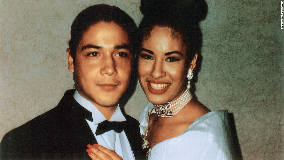 """Selena and her husband Chris at a wedding. """"Selena loved as hard as she lived.  We loved her in return—her family, her friends, her fans, and me, her husband, who felt like the luckiest man alive every time Selena said my name."""" --Chris Perez"""