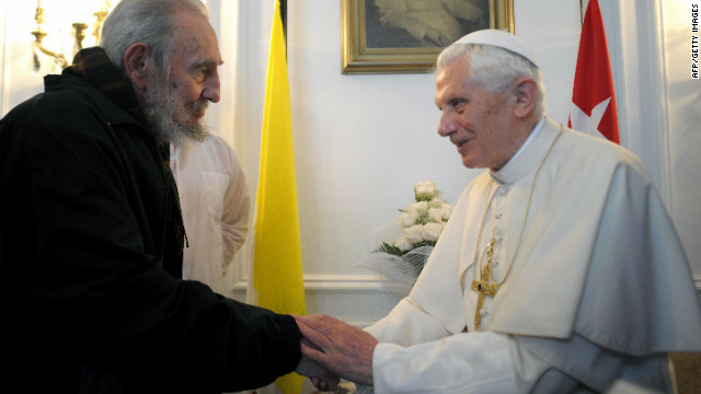 This handout picture released by the Vatican Press Office shows Pope Benedict XVI with Cuban leader Fidel Castro (L) during a meeting on March 28, 2012 in Havana
