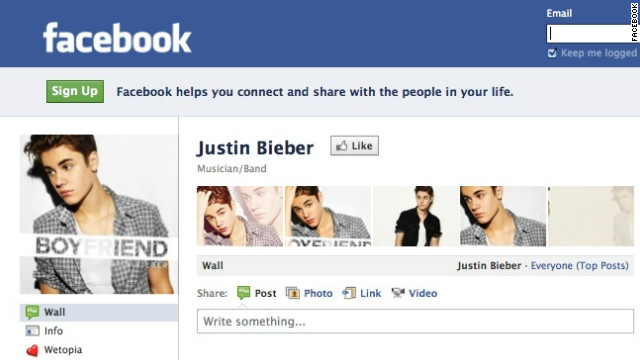 Teen pop star Justin Bieber is among the most disliked things on Facebook, according to a new app.