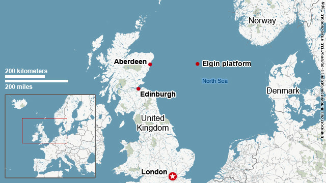 Map shows the location of the Elgin platform in the North Sea.