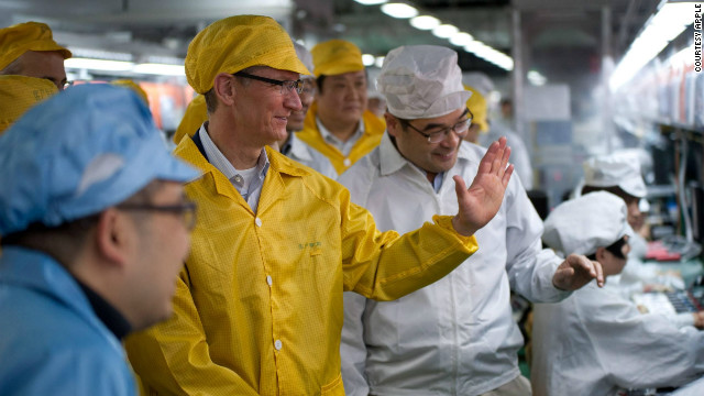 Apple CEO Tim Cook tours a Foxconn plant in Zhengzhou, China in March.