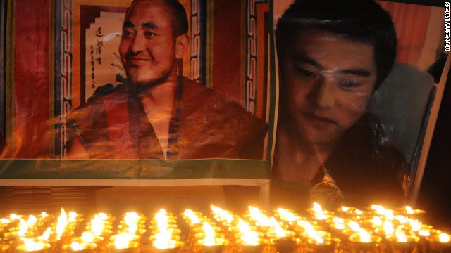 Jamyang Palden, left, and Lobsang Tsultrim, died by self-immolation in protests on March 17.