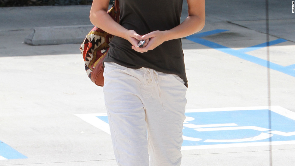 Miley Cyrus leaves a pilates studio in Los Angeles.