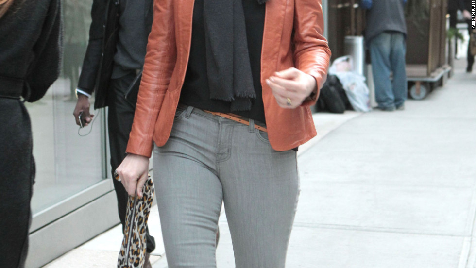Judy Greer leaves her hotel in New York City.