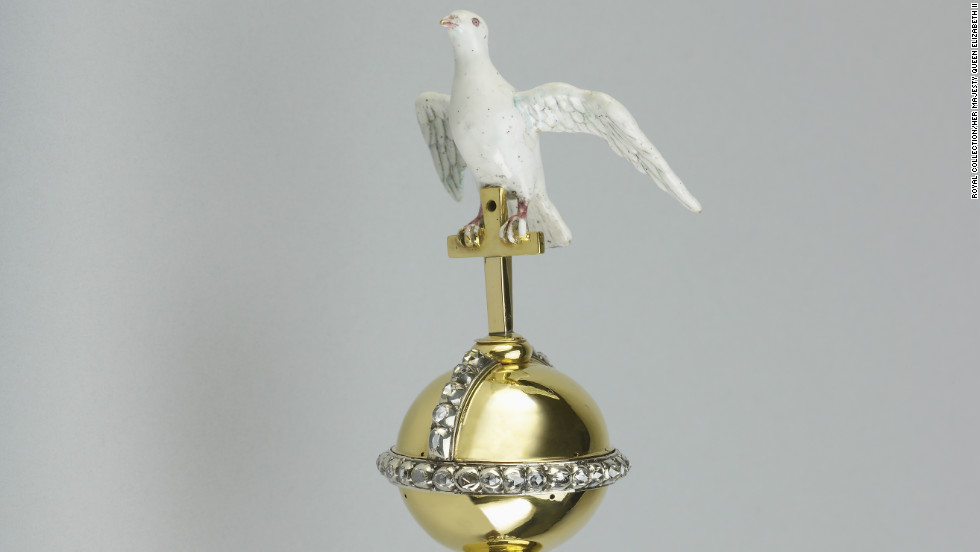 The Sovereign's Sceptre with Dove dates back to 1661; the bird symbolizes the Holy Spirit.
