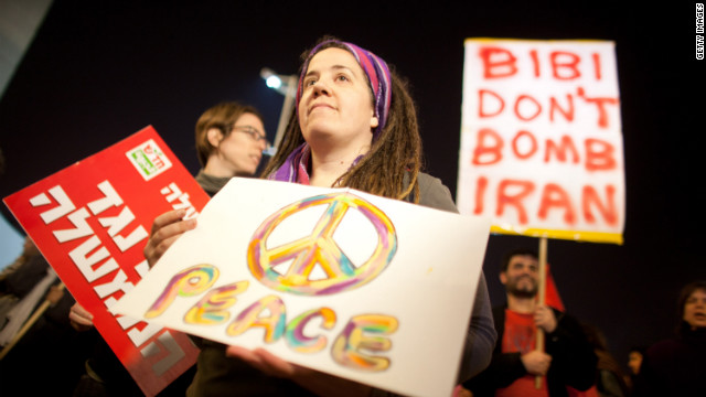 "Israelis demonstrate on Saturday in Tel Aviv against war with Iran. ""Bibi"" is Israeli Prime Minister Benjamin Netanyahu."