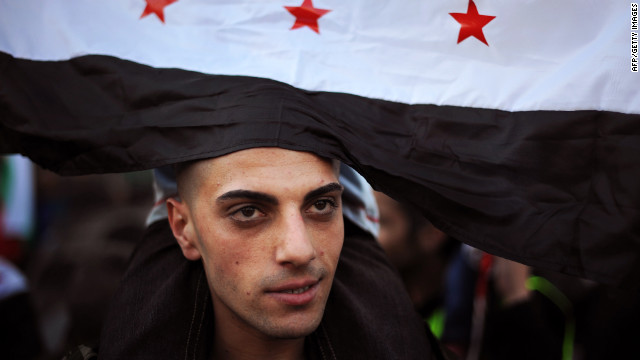 A Syrian immigrant attends a rally against President Bashar al-Assad in front of the Syrian Embassy in Sofia on Saturday.