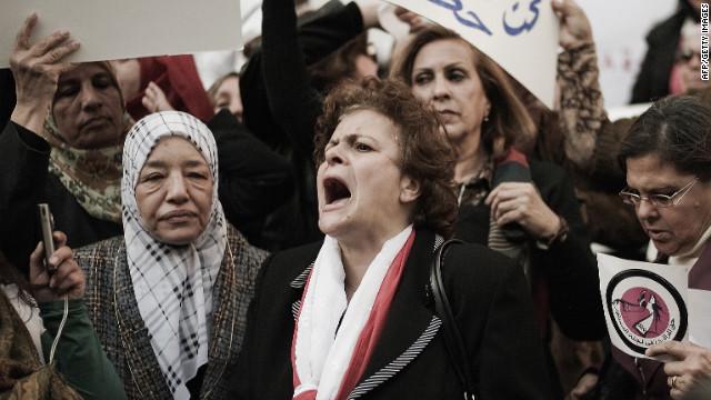 Hundreds of women marched in Cairo on International Women's Day, March, 8 for the right to co-draft Egypt's new constitution.