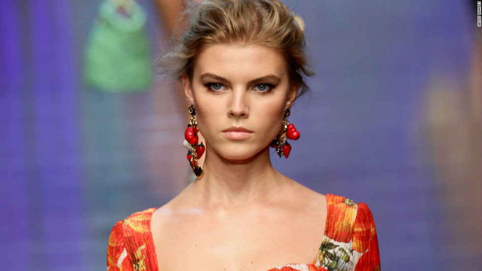 Big, bold technicolor floral prints were largely featured in Dolce & Gabbana's spring show.