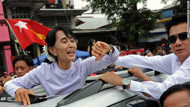 Myanmar opposition leader Aung San Suu Kyi in Yangon after her victory in a by-election.