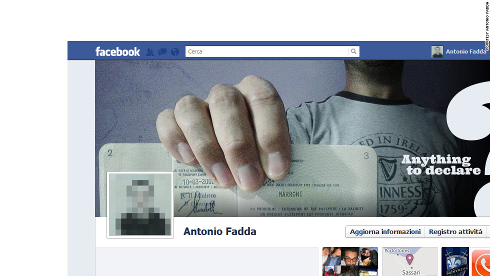 """I'm probably one of the few people who liked the Facebook Timeline immediately,"" says Antonio Fadda of Sassari, Italy. ""Sure, at first sight it may look confusing,  but it took me just a little to get used to it."" The new square profile picture made him think of a passport photo, he says, so that's the <a href=""http://ireport.cnn.com/docs/DOC-765514"">theme he used</a> for his cover photo."