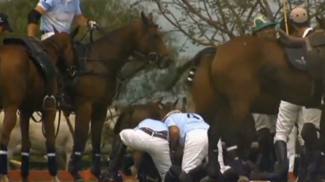Prince Harry rescues a polo player
