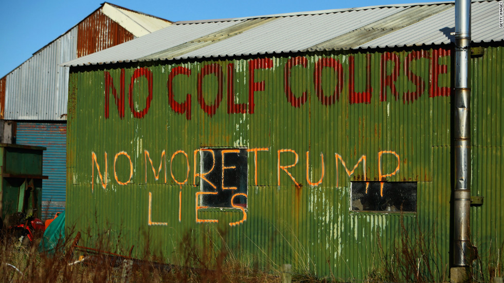 American tycoon Donald Trump had to fight off legal challenges to his championship golf course in Aberdeenshire in Scotland, which was unpopular with some local residents.
