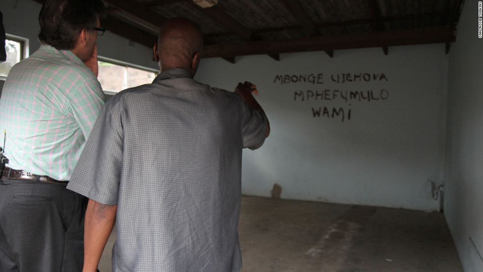 "Before they began collaborating musically, Mambazo granted Hampson a tour of the small township where Shabalala was born and raised. Here, Shabalala points to the back wall of his old garage where the band would rehearse, and on which are inscribed the words: ""My soul gives thanks to the Lord."""