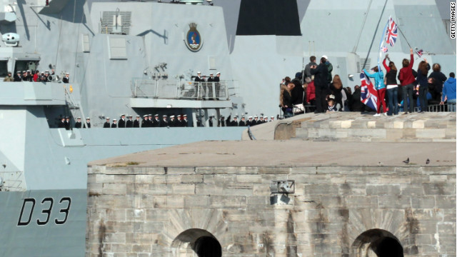 HMS Dauntless leaves for the South Atlantic on her maiden deployment on April 4, 2012 in Portsmouth, England.