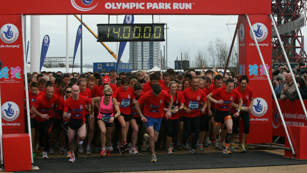 More than 5,000 people took part in a five-mile race around the Olympic Park in London, four months before the 2012 Games get under way.